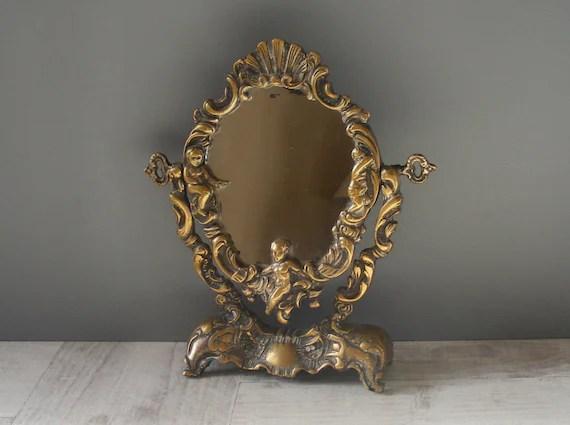 Franais ancien petit Gilt Bronze miroir de courtoisie avec