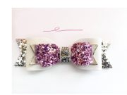 girls light pink glitter hair bow