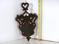 Black & Red Cast Iron pot holder trivet Heart and Blazing