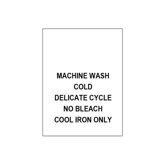 100 PRINTED CARE LABELS (Machine Wash Cold...)