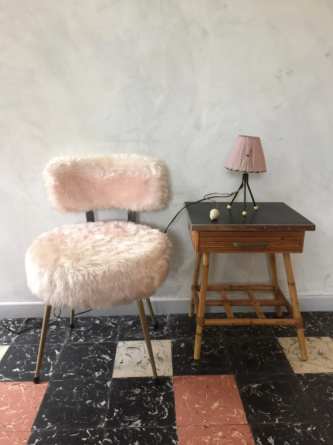 faux fur chair cover eames molded plywood lounge with wood base fake pink pale vintage