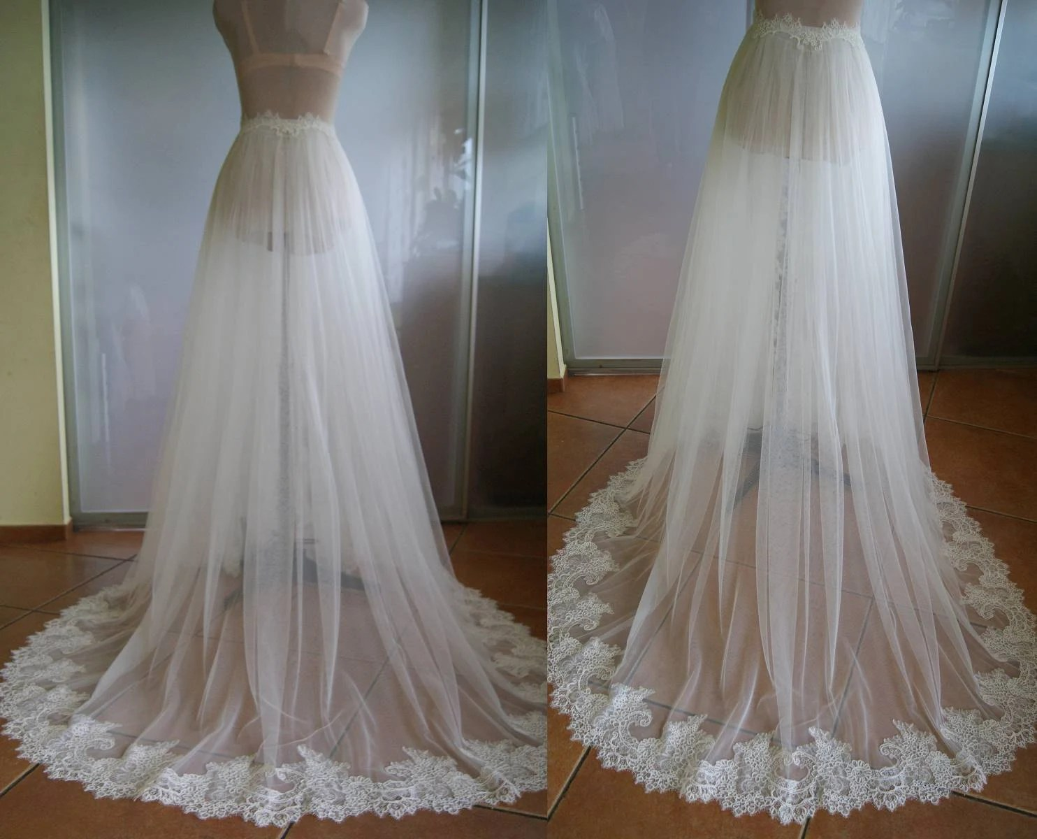 Detachable Skirt Train For Wedding Dress-NIKA. Tulle Lace