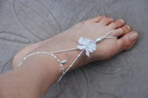White Stretch Beaded Barefoot Sandals Jewelry