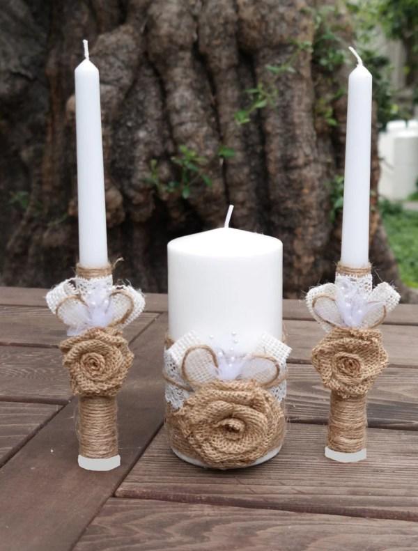 Rustic Wedding Candle Set Burlap And Lace Unity