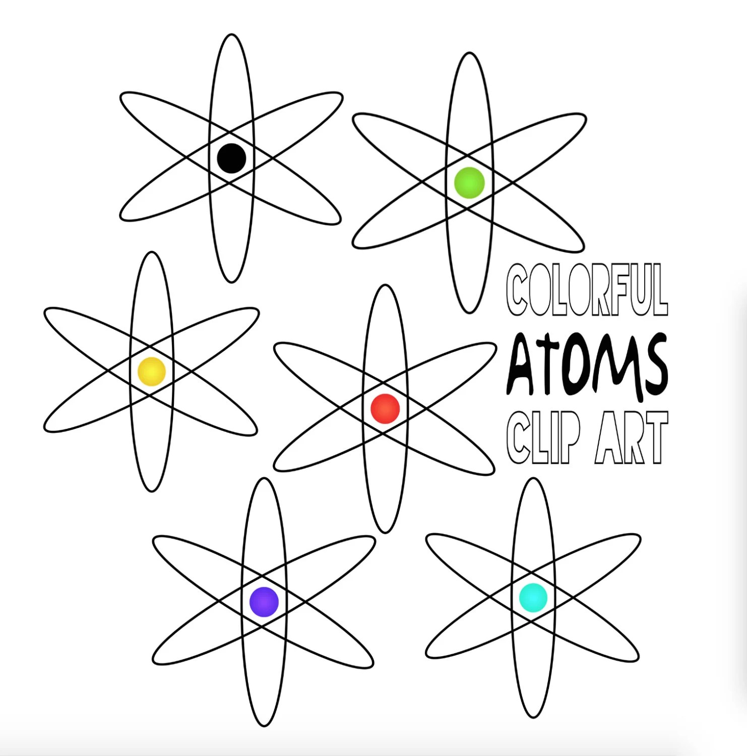 Atom Clip Art Atoms Clipart Atomic Image Science Graphic Icon