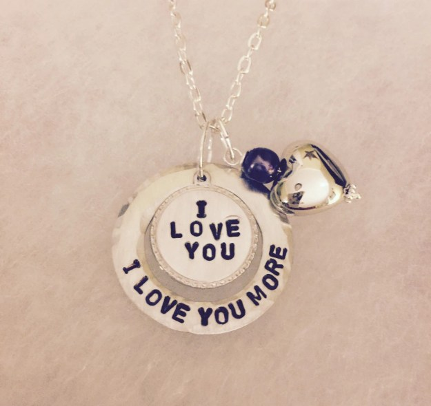 Personalized Hand Stamped Charm Love Necklace