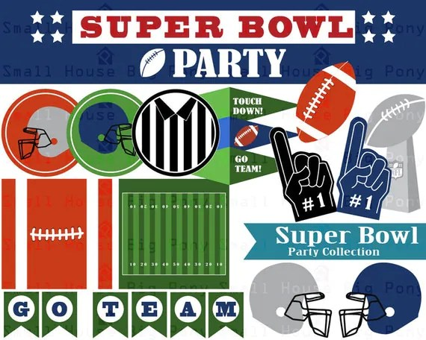 super bowl clip art clipart party