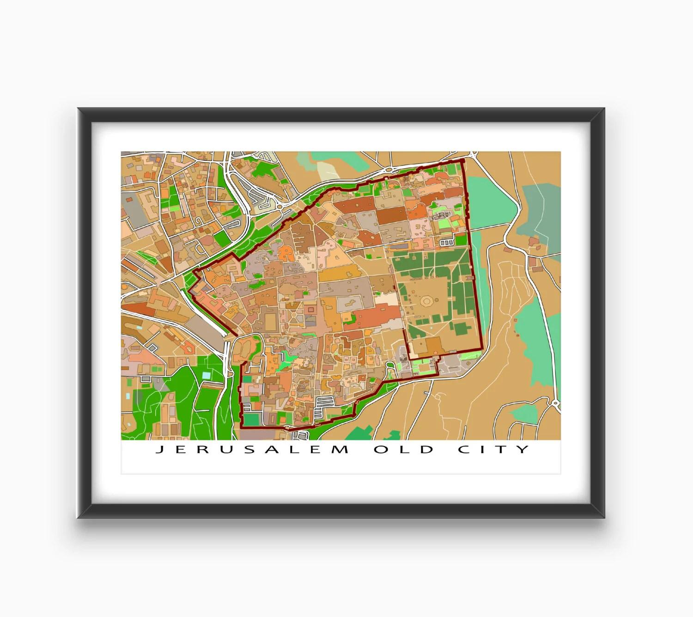 Jerusalem Map Jerusalem Israel Old City Art Print By Mapsasart