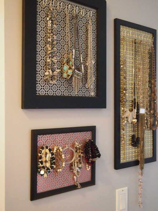 Custom Jewelry Organizer Framed Wall