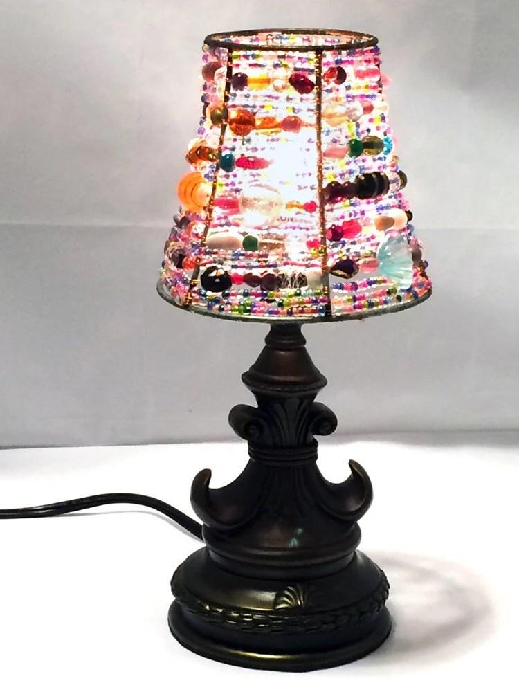 Beaded Lampshade Boho beaded Lamp shade Boho Home Decor