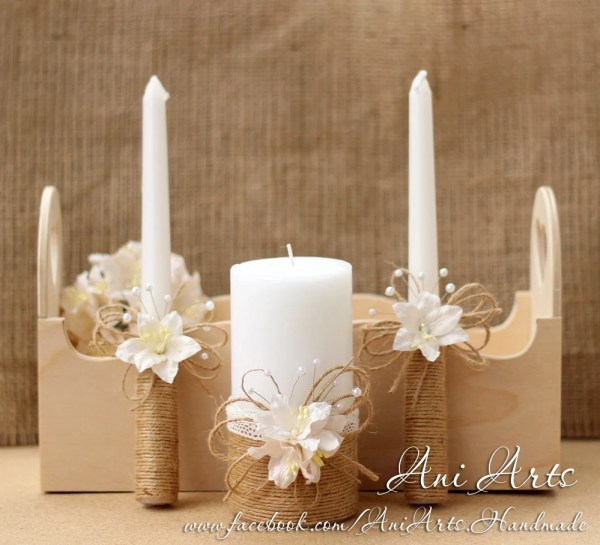 Rustic Wedding Unity Candles Burlap And Lace Candle Set