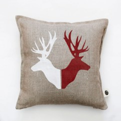 Deer Print Sofa Covers Best Upholstery Fabric For A Heads Throw Pillow Rustic Bed Camping Pillows
