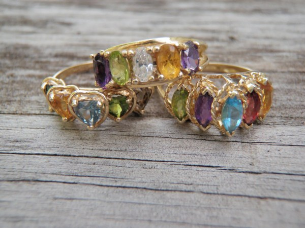 Solid 14k Yellow Gold Gemstone Mothers Rings 5 Gemstones