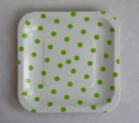 Light green dotted paper plates retro party plates square