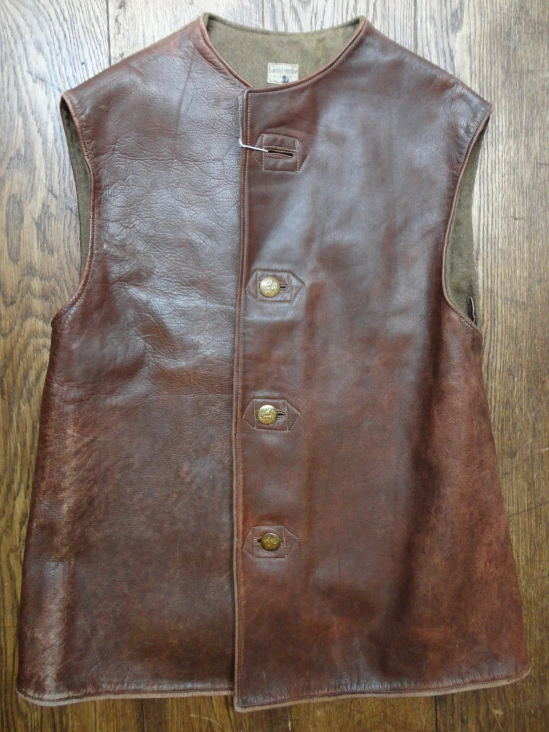 Vintage 1950s brown horsehide leather jerkin 44 chest