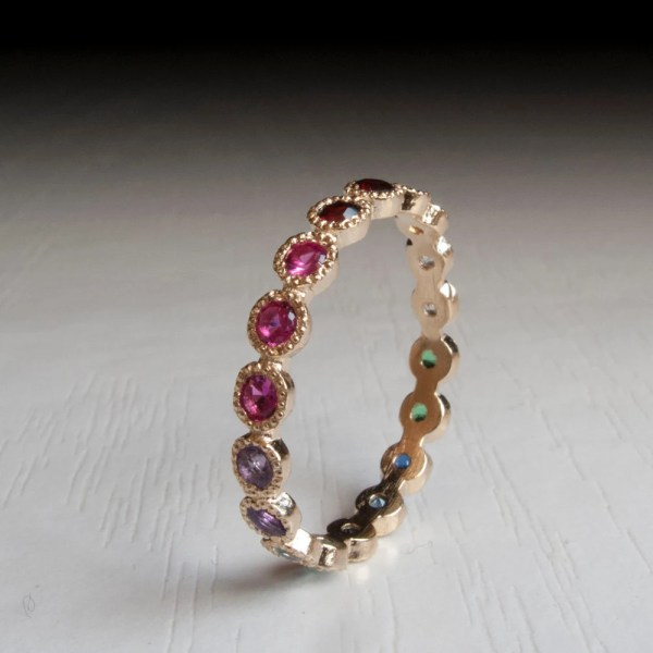 Gold Eternity Ring Sapphire Ruby Citrine Emerald