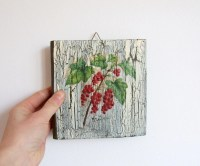 Red Currant Print Decoupage Wall Art Rustic Home by ...