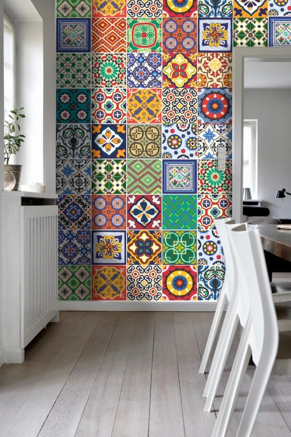 Talavera Tile Accent Wall in Dining Room Living Room Hardwood Floors Mosaic Tiles
