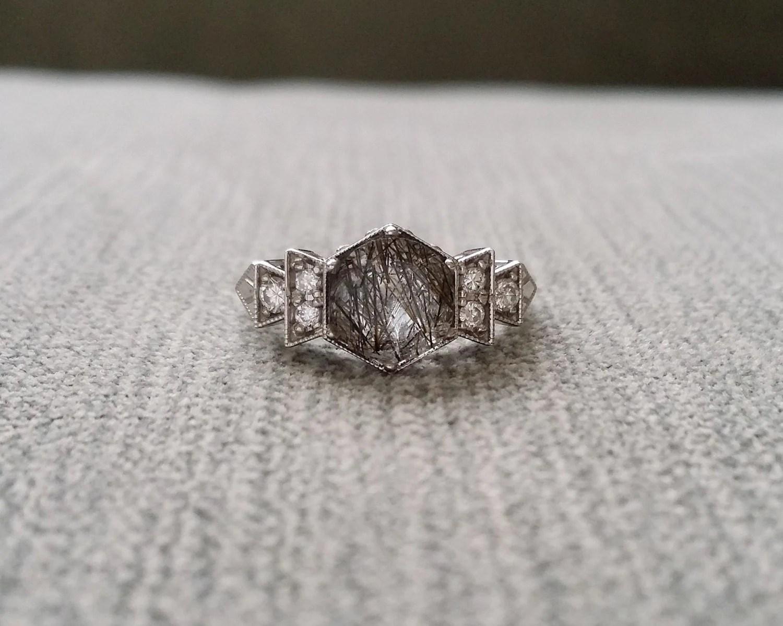 Antique Diamond Rutilated Quartz Engagement Ring White Gold