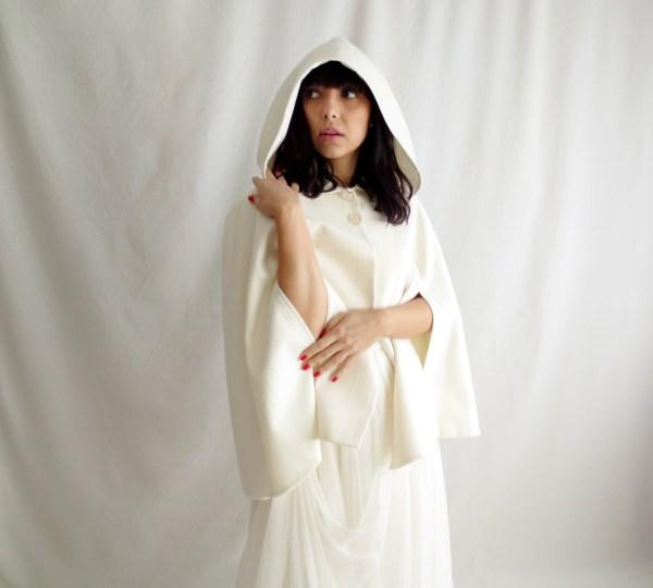 Winter Wedding Cape White Wool