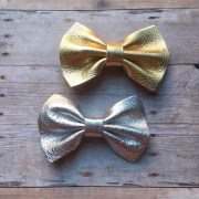 gold silver leather bow hair