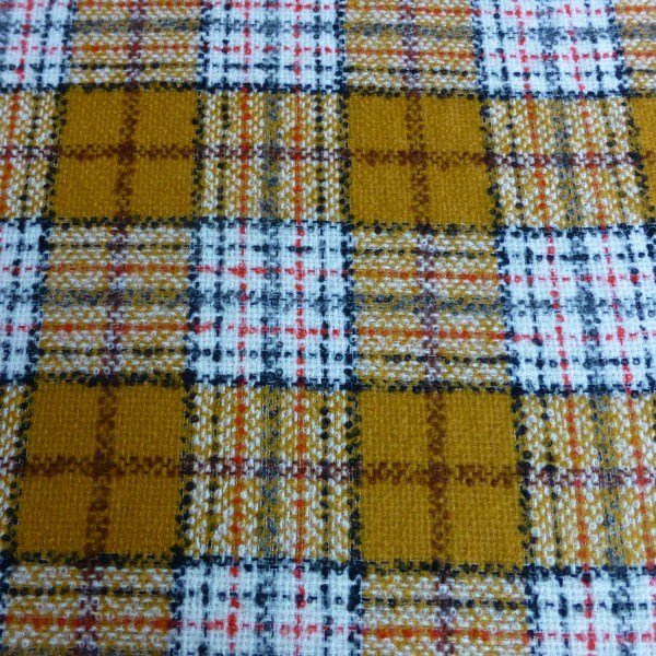 Red And Mustard Yellow Boucle Tweed Tartan Check Fabric Pure