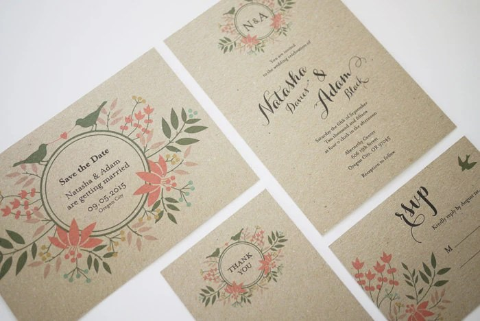 Printing Paper For Wedding Invitations: Floral Wreath Monogram Kraft Paper Wedding Invitation
