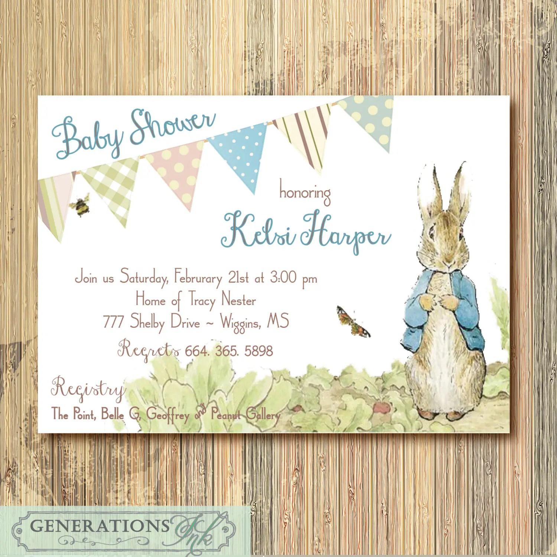 Peter Rabbit Baby Shower Invitation Digital File Printable