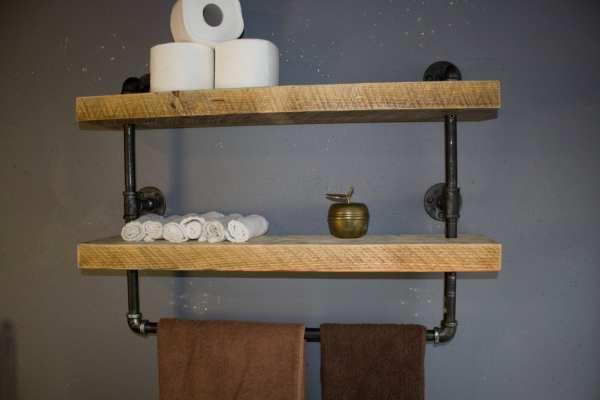 DIY Industrial Pipe Shelves Bathroom