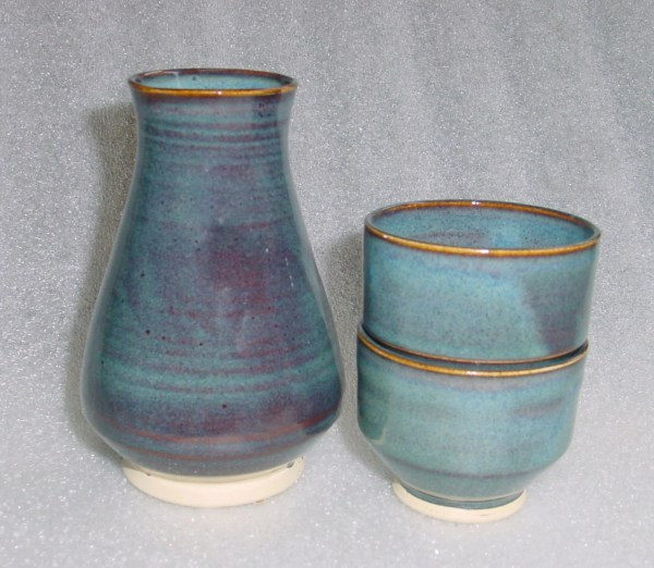 Blue Sake Set Whiskey Flask With Two Cups Shot