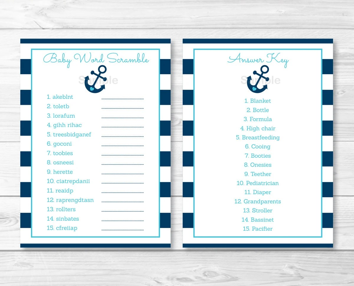 Cute Anchor Baby Shower Word Scramble Anchor Baby Shower
