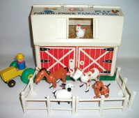 Vintage Fisher Price Farm Barn Little People Animals Children