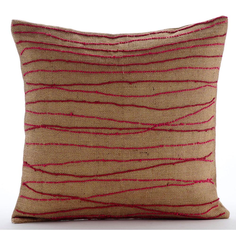 Designer Red Decorative Pillow Cover 16x16 Burlap