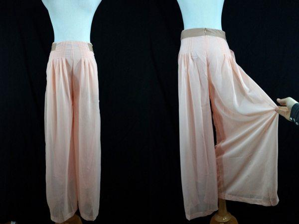 1980s Pink Chiffon Harem Pants Wide Leg Sheer Small