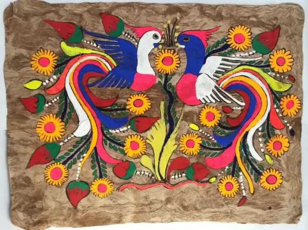 Mexican Bark Paintings Large Birds Of Paradise Horizontal
