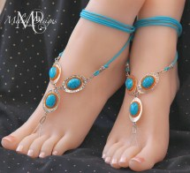 Silver Turquoise Orange Barefoot Sandals