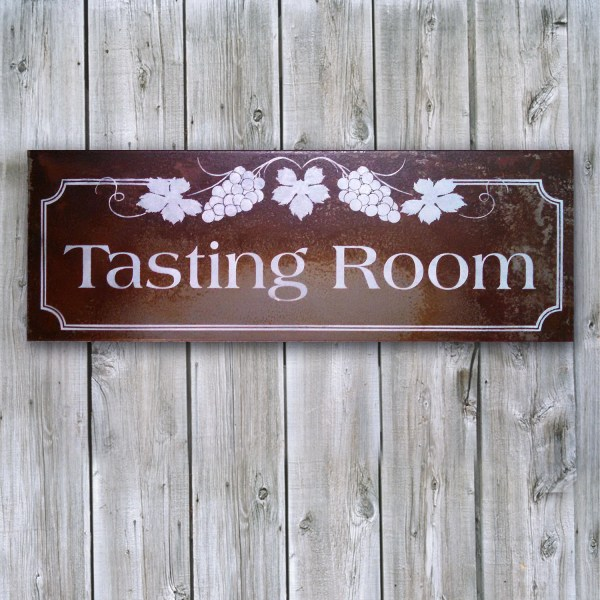 Wine Tasting Room Sign With Grapes Rusted Metal