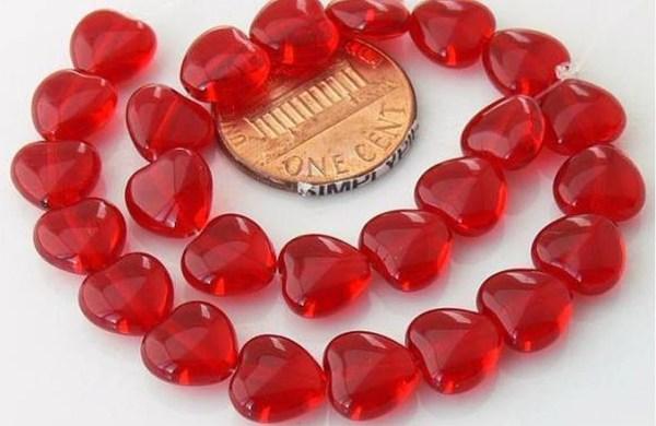 Red Heart Czech Glass Beads 8mm 20