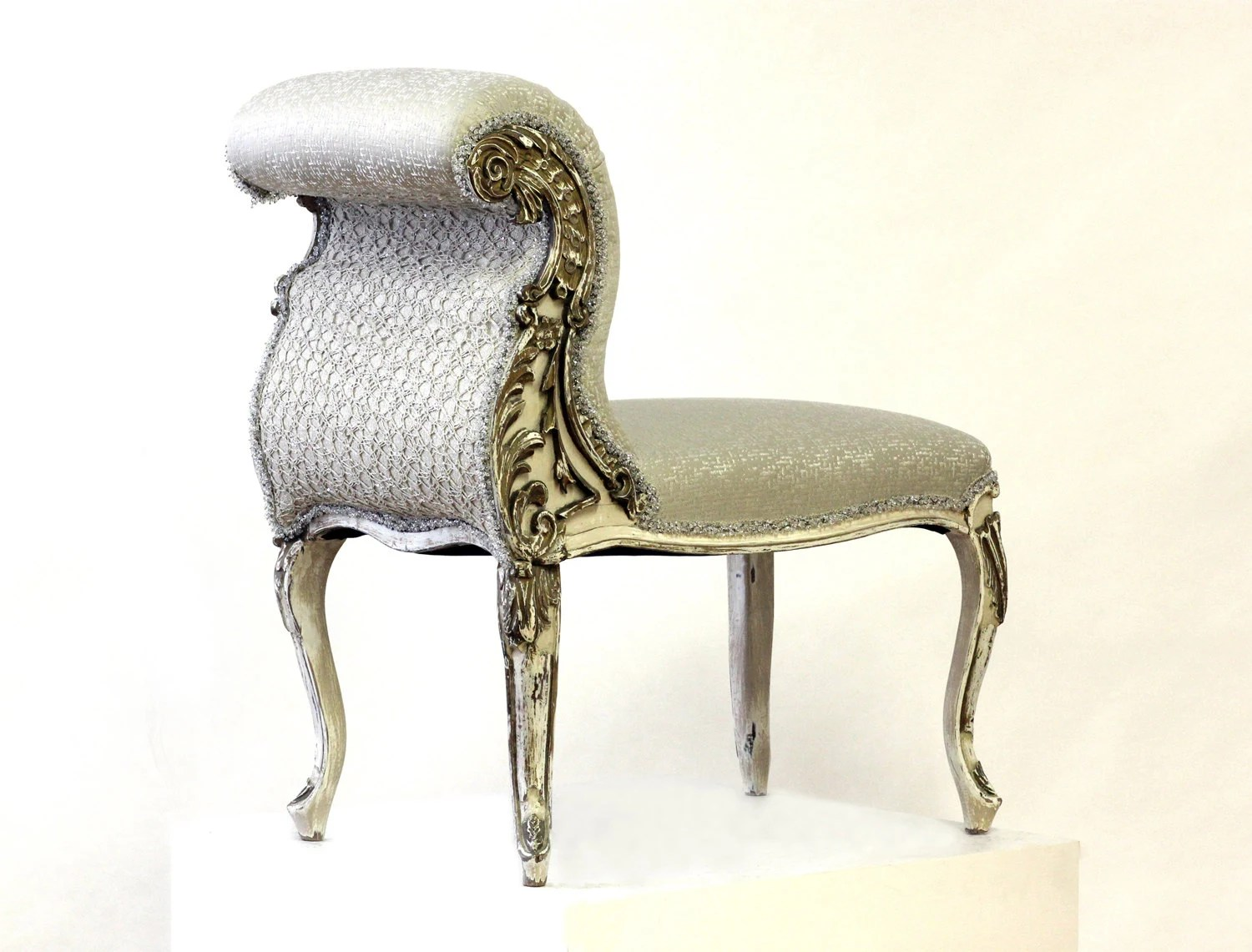 upholstered slipper chair fabric swivel and footstool french