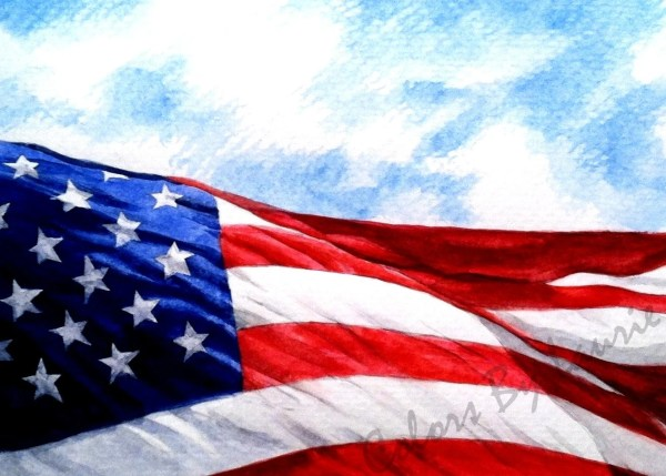 5x7 American Flag Print Colorsbylaurie