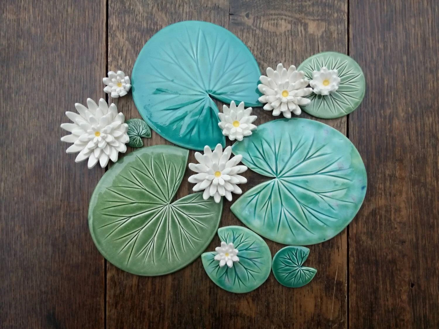 Lily pad coaster Handmade ceramic Waterlily by