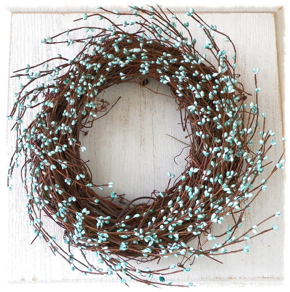 Robins Egg Blue PipBerry WreathCountry WreathRustic