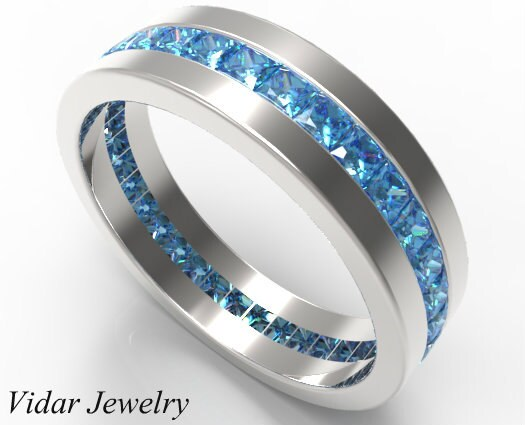 2 Carat Natural Fancy Blue Diamond Wedding Band For MenUnique