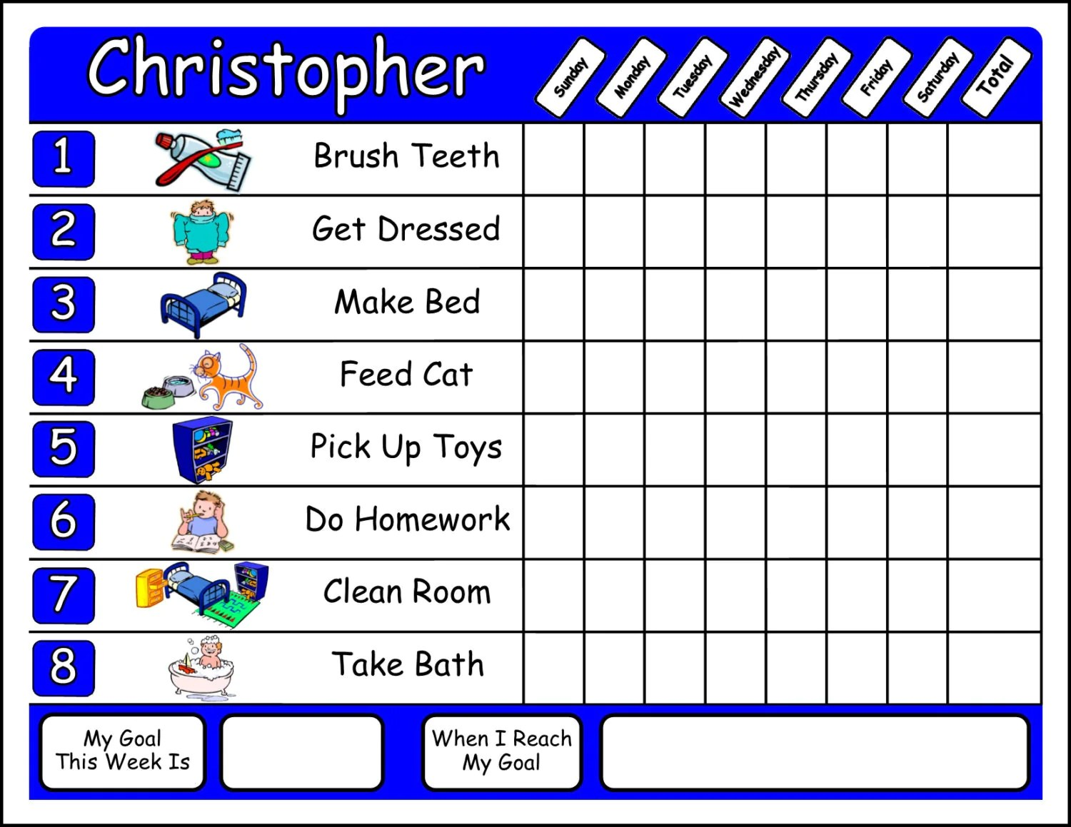 Chore Chart With Chore Pictures Dry Erase You Choose The