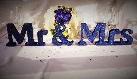 Navy Blue Glitter Mr & Mrs Wedding Sign Wooden And