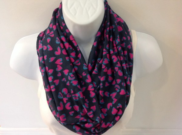 Valentines Day Infinity Scarf With Hearts Circle Cotton Jersey