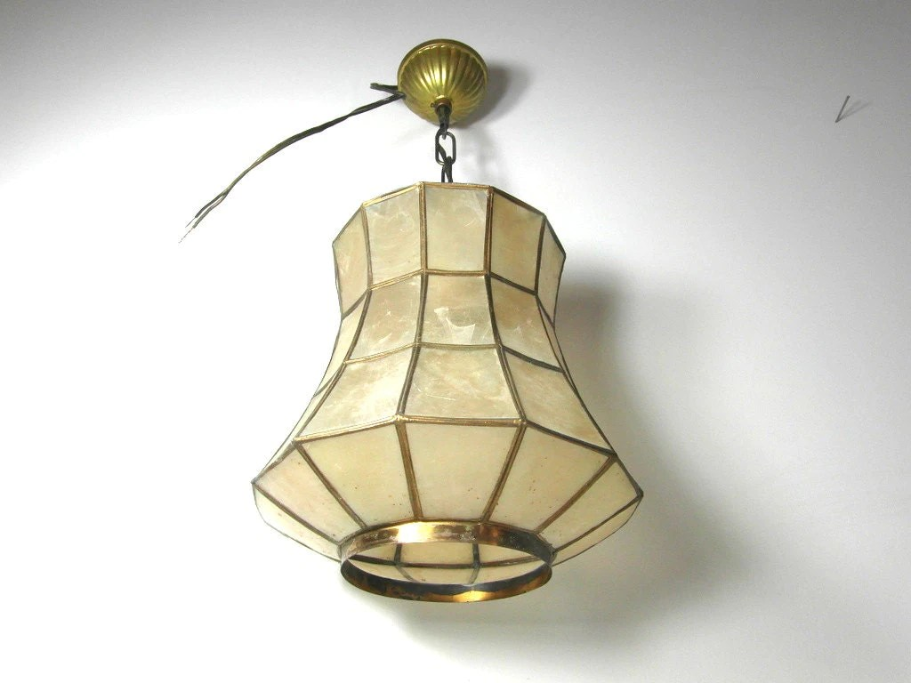 Capiz shell pendant light gold metal shell by