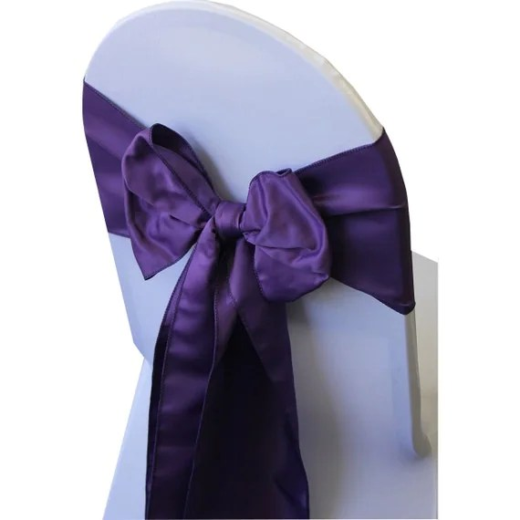 Purple Lamour Satin Chair Sashes Pack of 10 Wedding Chair