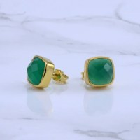 Green Onyx Stud Earrings Calcedony Earrings Gemstone Studs
