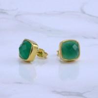 Green Onyx Stud Earrings Calcedony Earrings Gemstone Studs